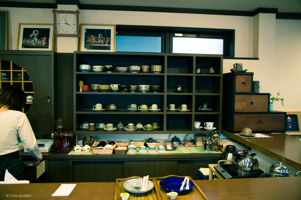 五箇山の中にあるカフェ 茶房掌 コーヒーカップが選べます