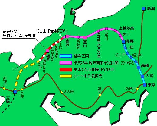 北陸新幹線 ルートマップ